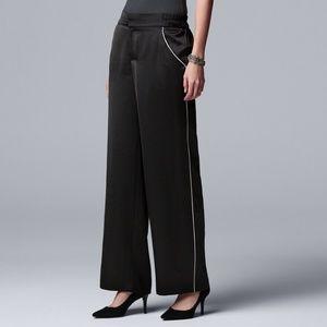 Vera Wang Pinstripe Wide-Leg PJ Style Satin Pants